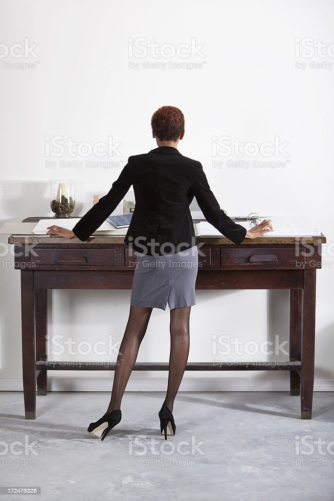 Rear view of business woman stock photo