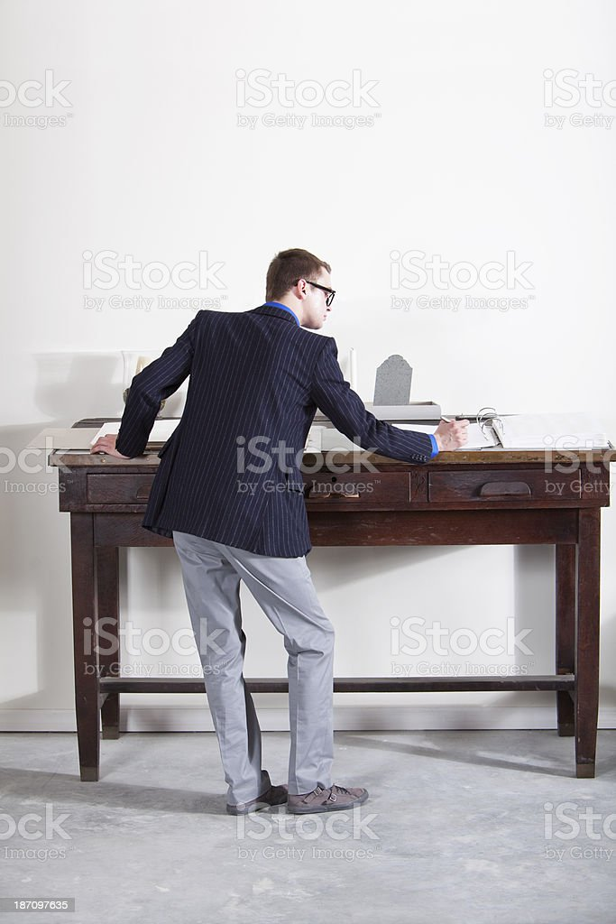Rear view of businessman stock photo