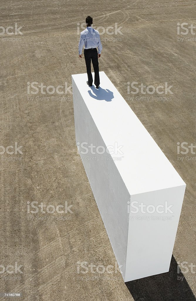 Rear view of businessman standing on block outdoors royalty-free stock photo