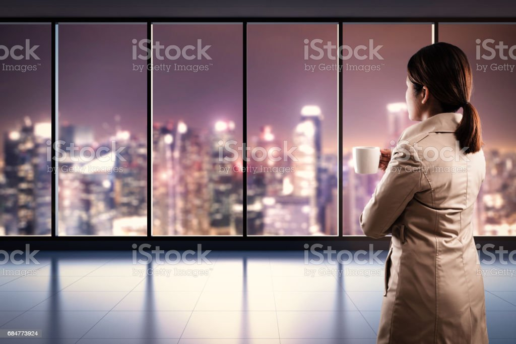 rear view of businesswoman stock photo