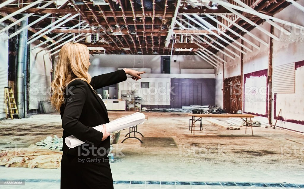 Rear view of businesswoman pointing away stock photo