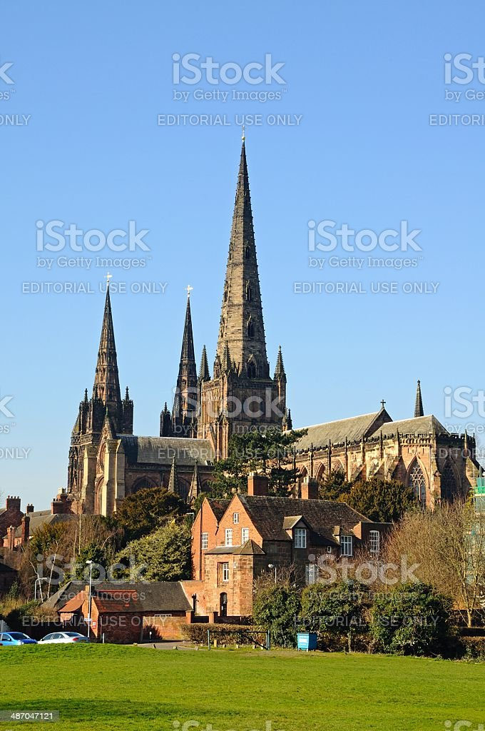 Rear view of Cathedral, Lichfield, UK. stock photo