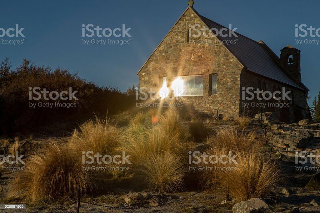 Rear view of Church of the Good Shepherd, Lake Tekapo stock photo