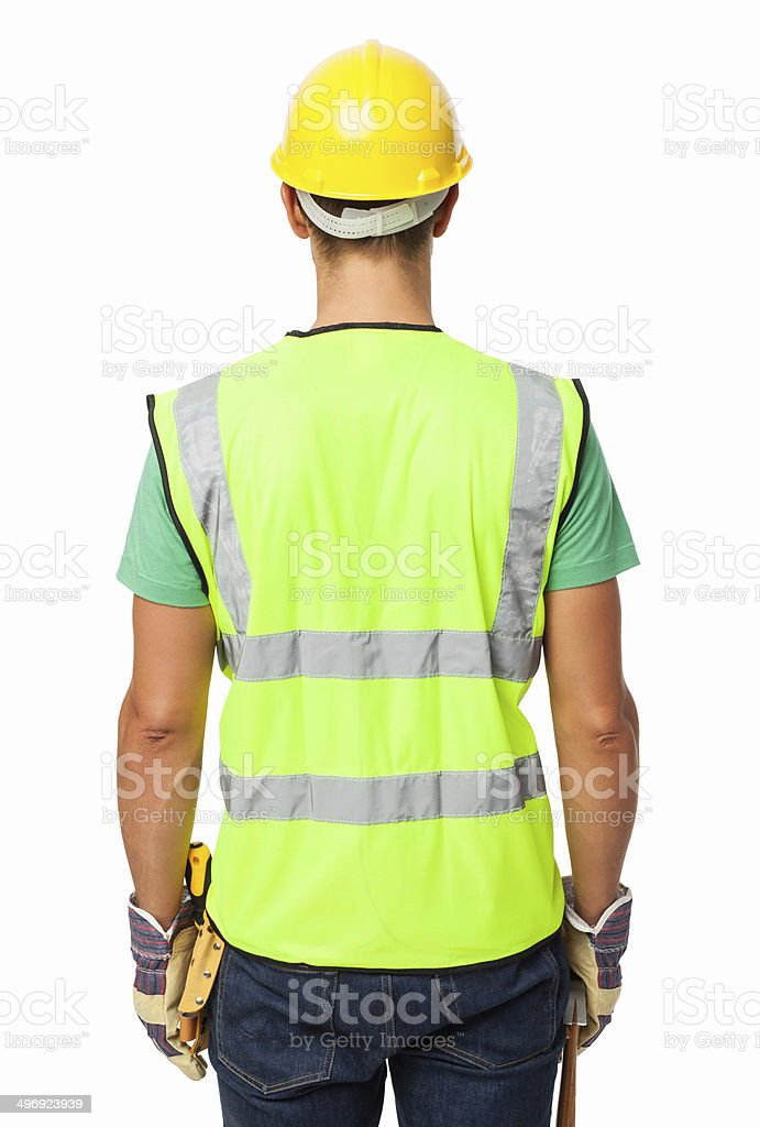 Rear View Of Construction Worker Wearing Reflective Clothing royalty-free stock photo