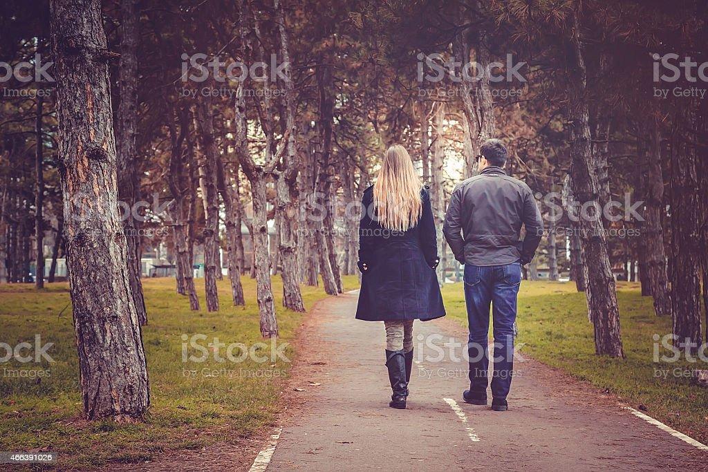 Rear view of couple walking through autumn city park stock photo