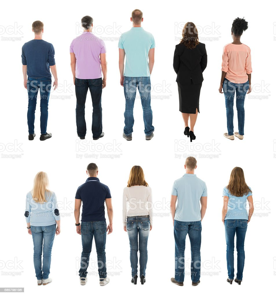 Rear View Of Creative People Standing In Row stock photo