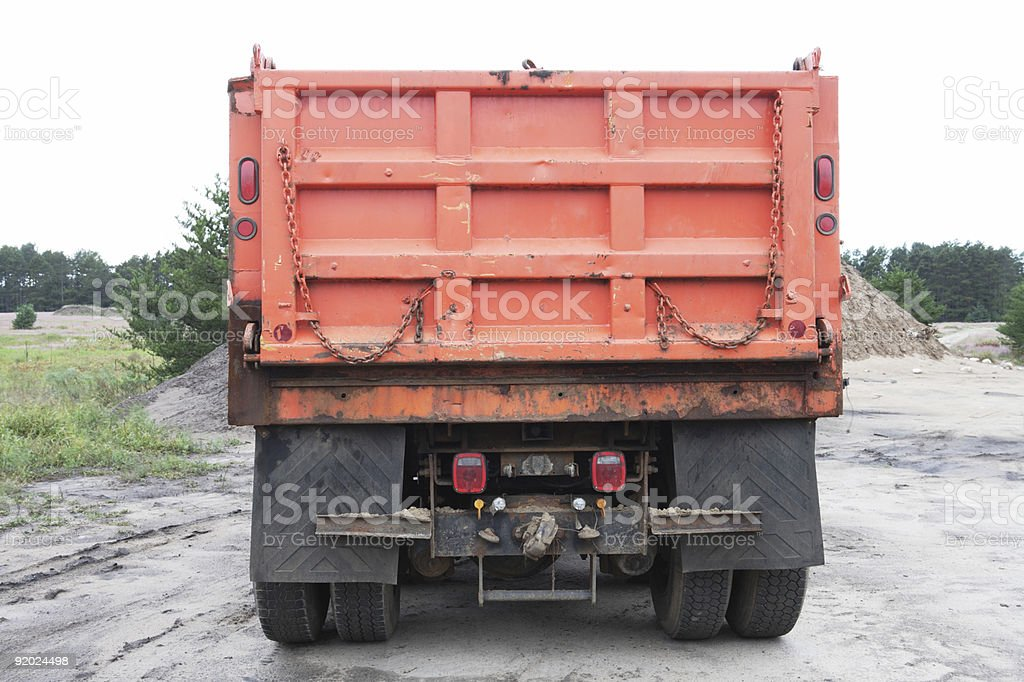 Rear View of Dump Truck stock photo