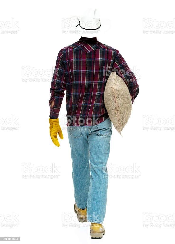 Rear view of farmer walking stock photo