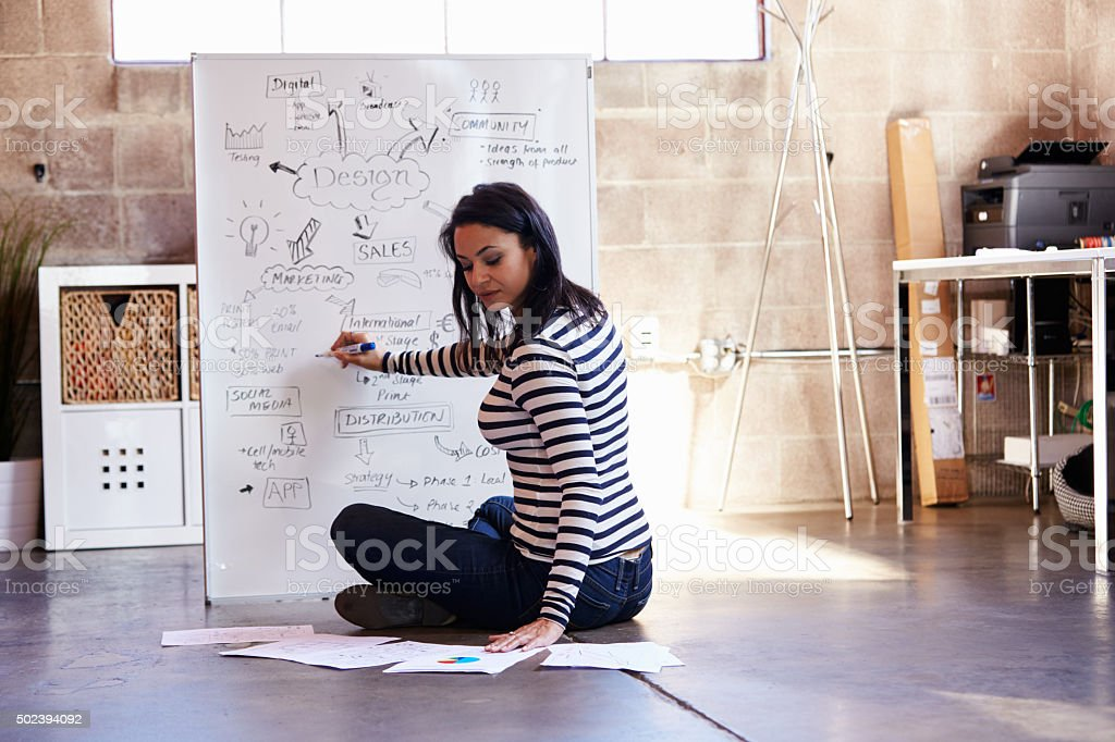 Rear View Of Female Designer Drawing Flow Chart stock photo