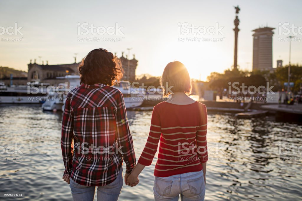 Rear view of female friends holding hands at port stock photo