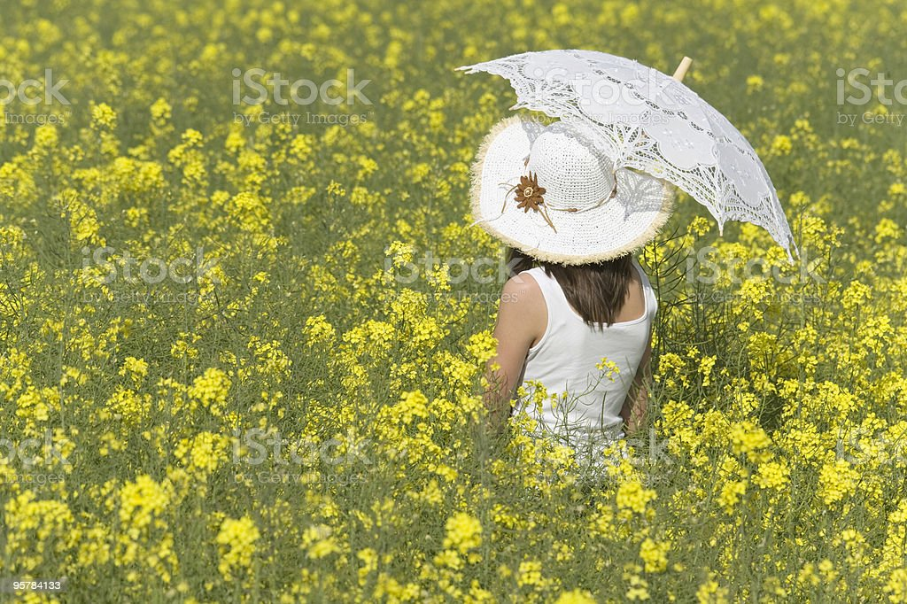 Rear view of girl with white parasol in canola field royalty-free stock photo
