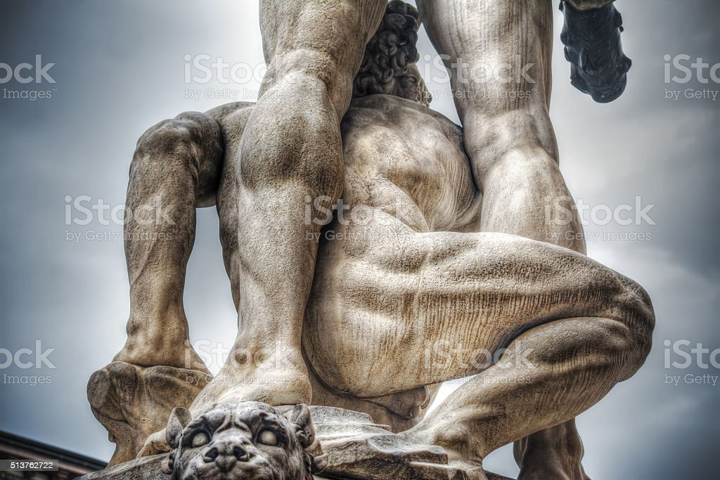 rear view of Hercules and Cacus statue stock photo