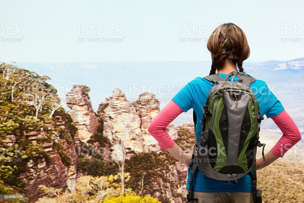 Rear view of hiker looking at the nature stock photo