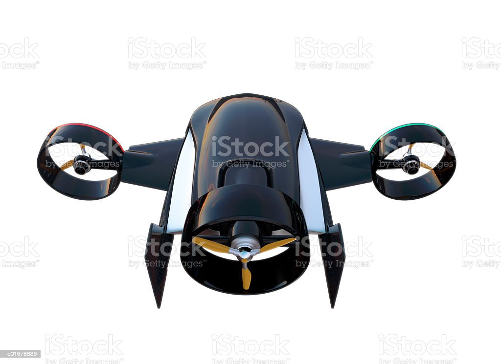 Rear view of hybrid drone for fast delivery concept stock photo