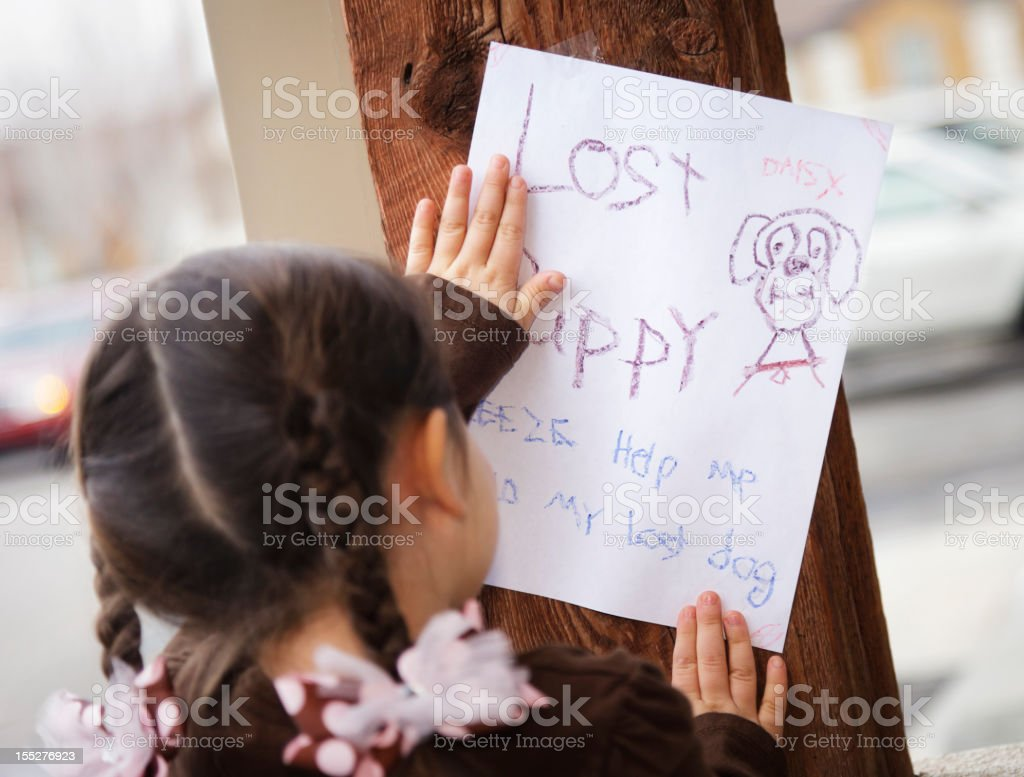 Rear view of little girl posting lost puppy sign stock photo