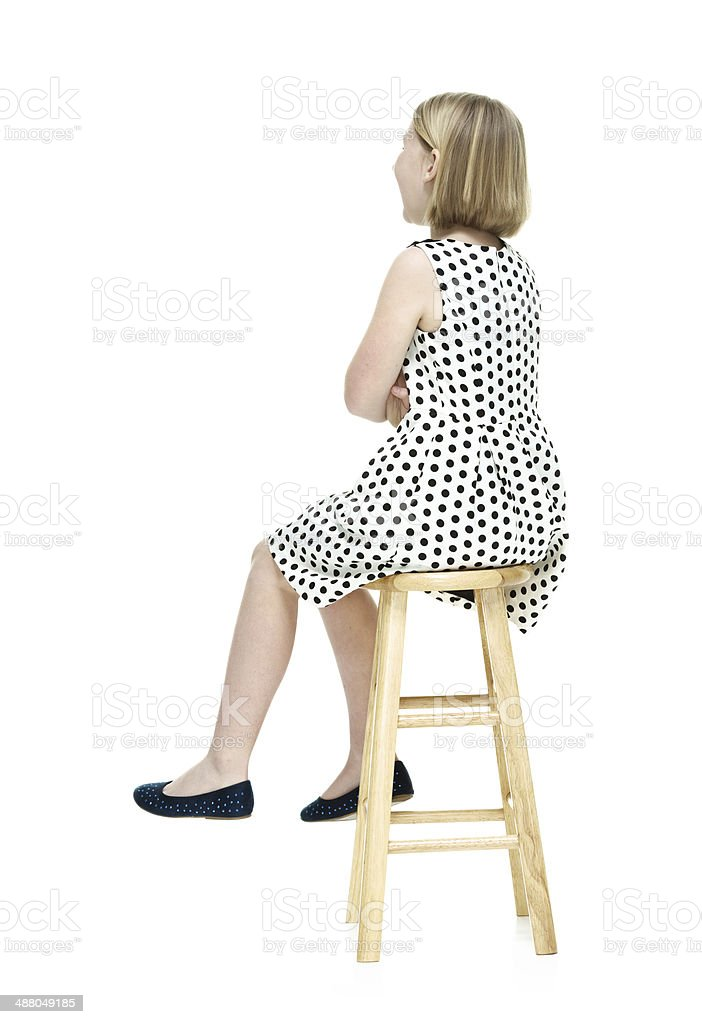 Rear View Of Little Girl Sitting On Stool Stock Photo 488049185 Istock