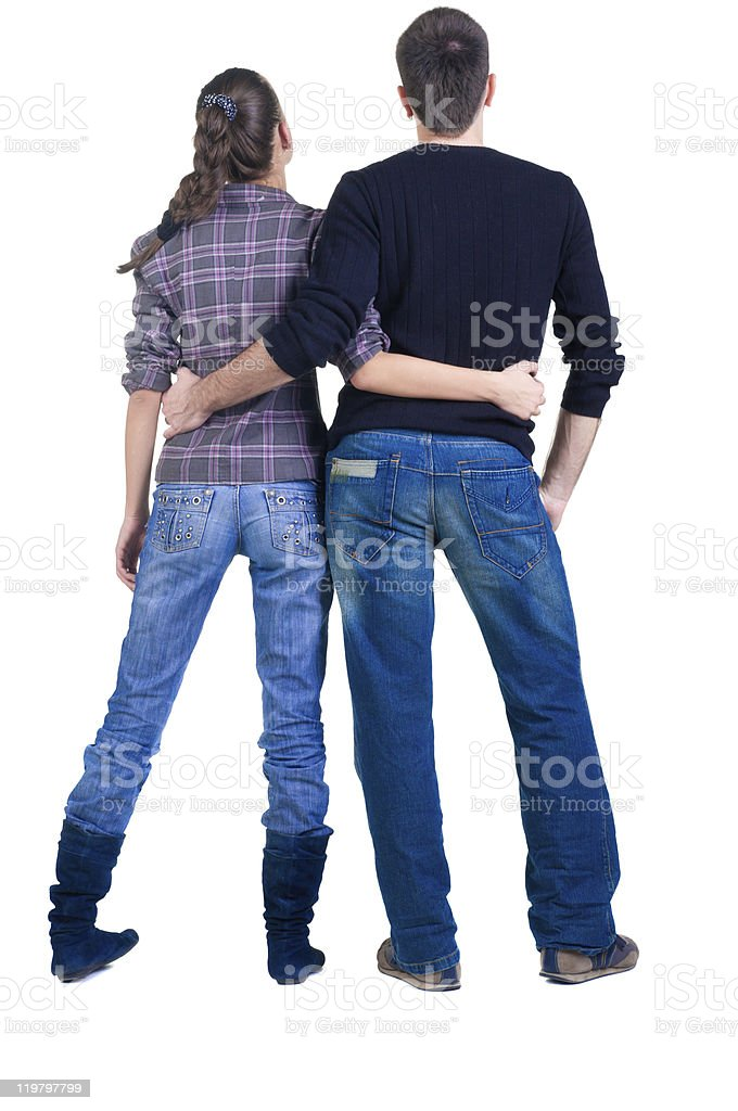 Rear view of man and woman side hugging each other royalty-free stock photo