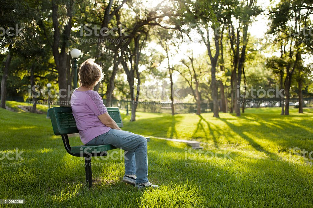 Rear view of mature woman sitting on park bench.  Summer. stock photo