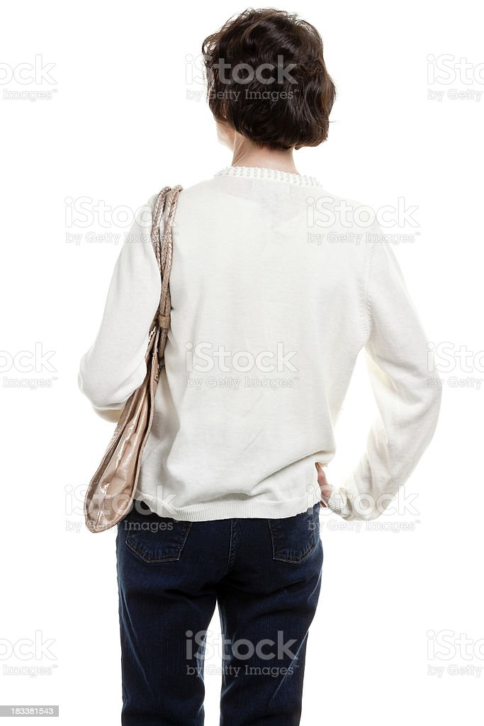 Rear View Of Mature Woman With Purse stock photo
