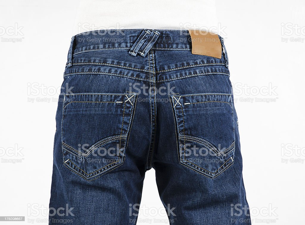 Rear view of men's denim jeans with no brand label stock photo