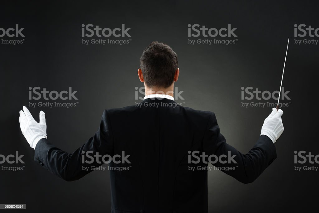 Rear View Of Music Conductor Holding Baton stock photo