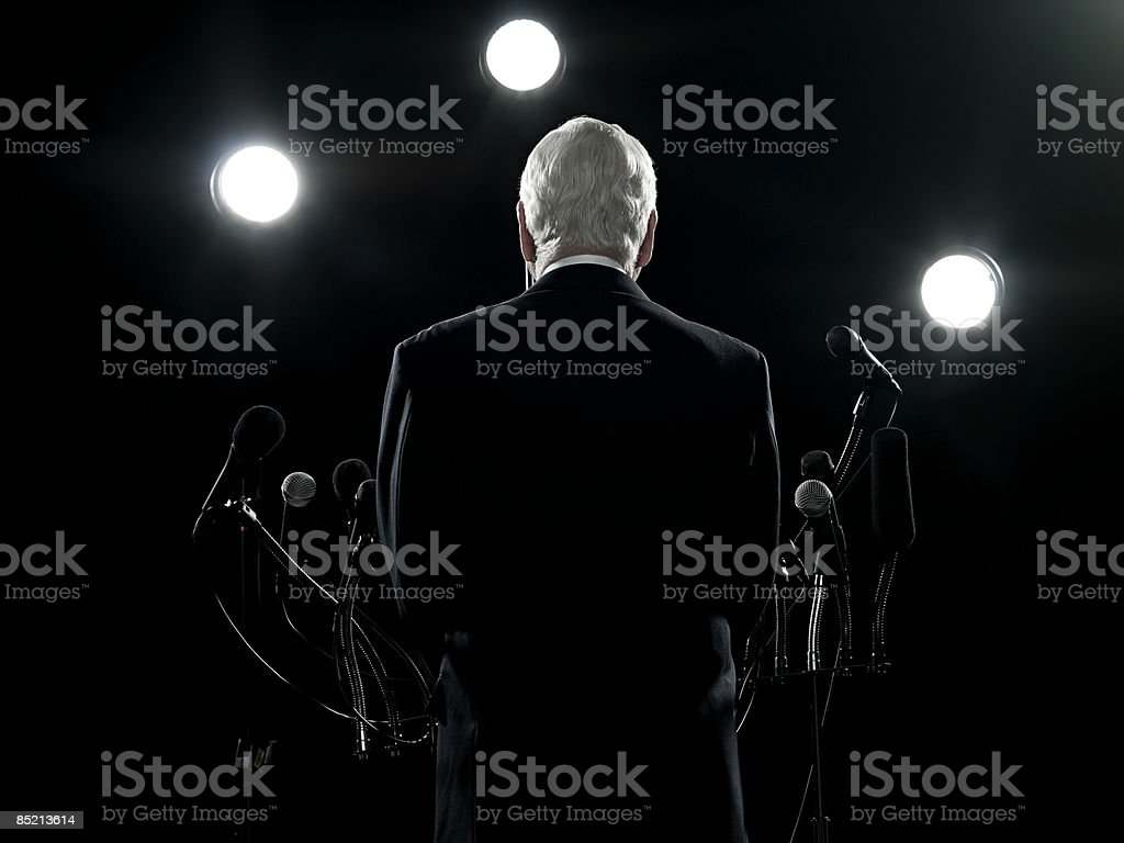 Rear view of politician stock photo
