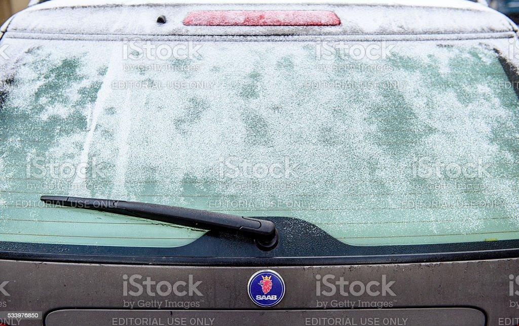 Rear view of SAAB sedan vehicle stock photo