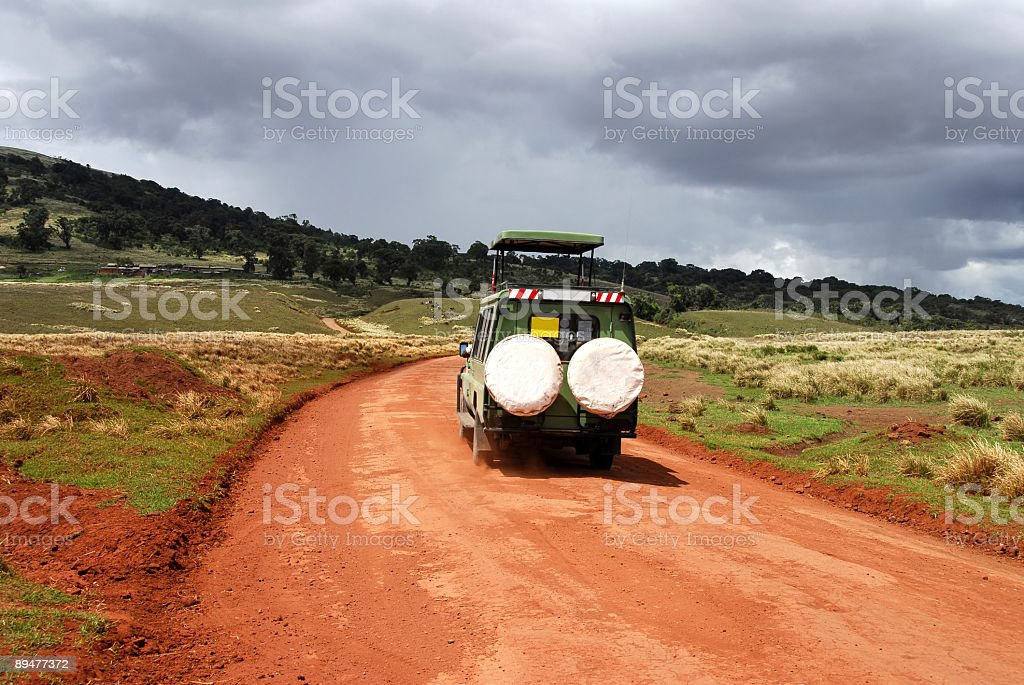Rear view of safari vehicle in Ngorongoro Conservation Area,Tanzania royalty-free stock photo