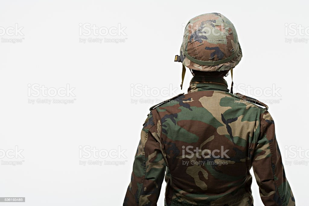 Rear view of soldier stock photo