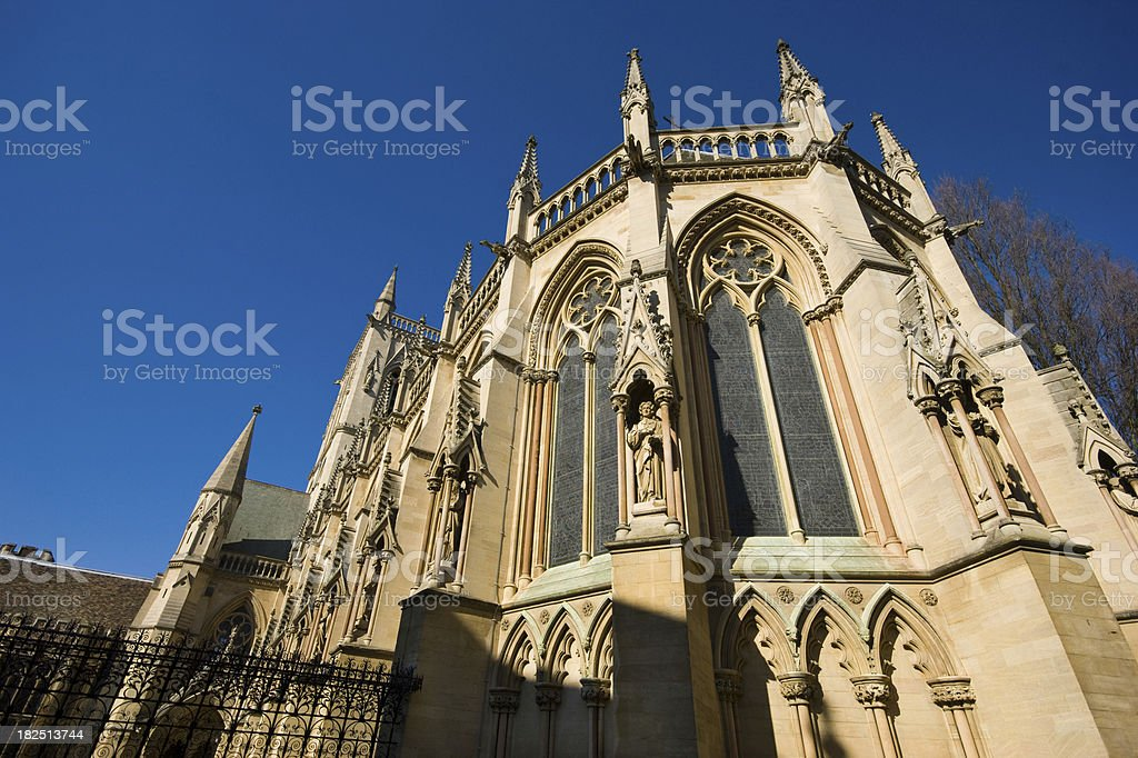 Rear view of St John's College Chapel Cambridge stock photo