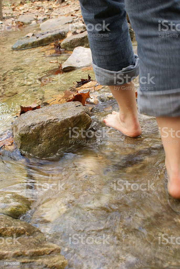Rear View of Stepping Stone Crossing royalty-free stock photo