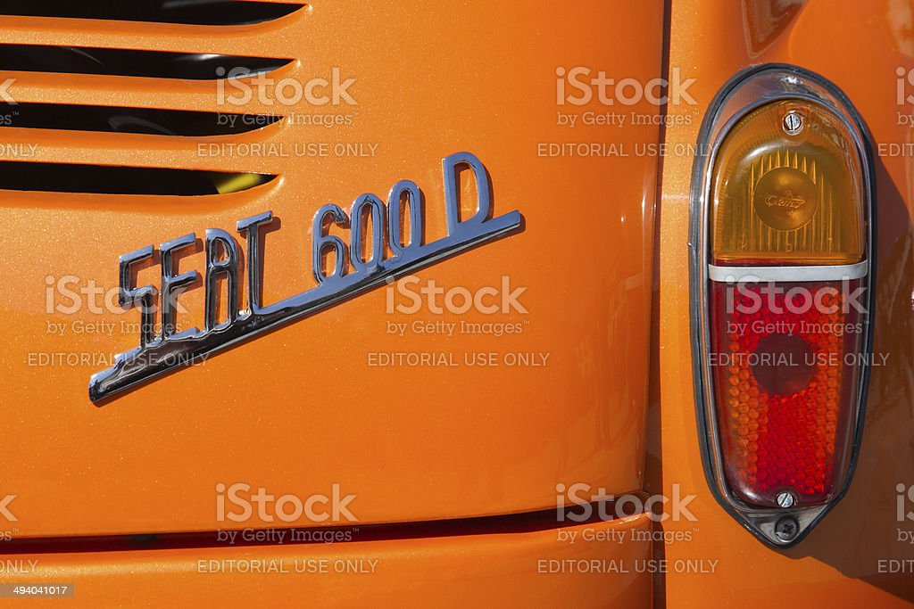 Rear view of the symbol of  car Seat 600 D stock photo