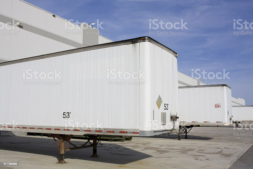 Rear view of Transport Truck Trailer Dock royalty-free stock photo