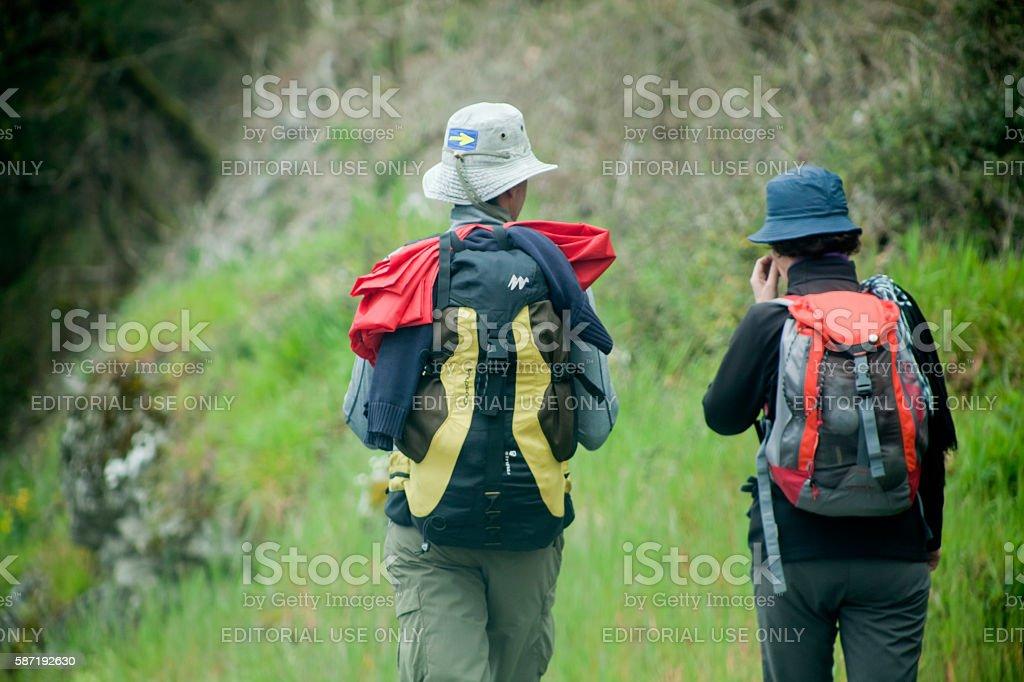 Rear view of two pilgrims in the 'camino de Santiago'. stock photo