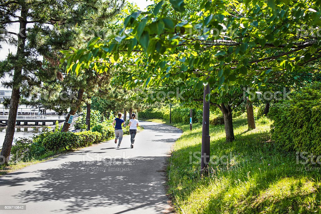 Rear view of two young Japanese women running at park stock photo