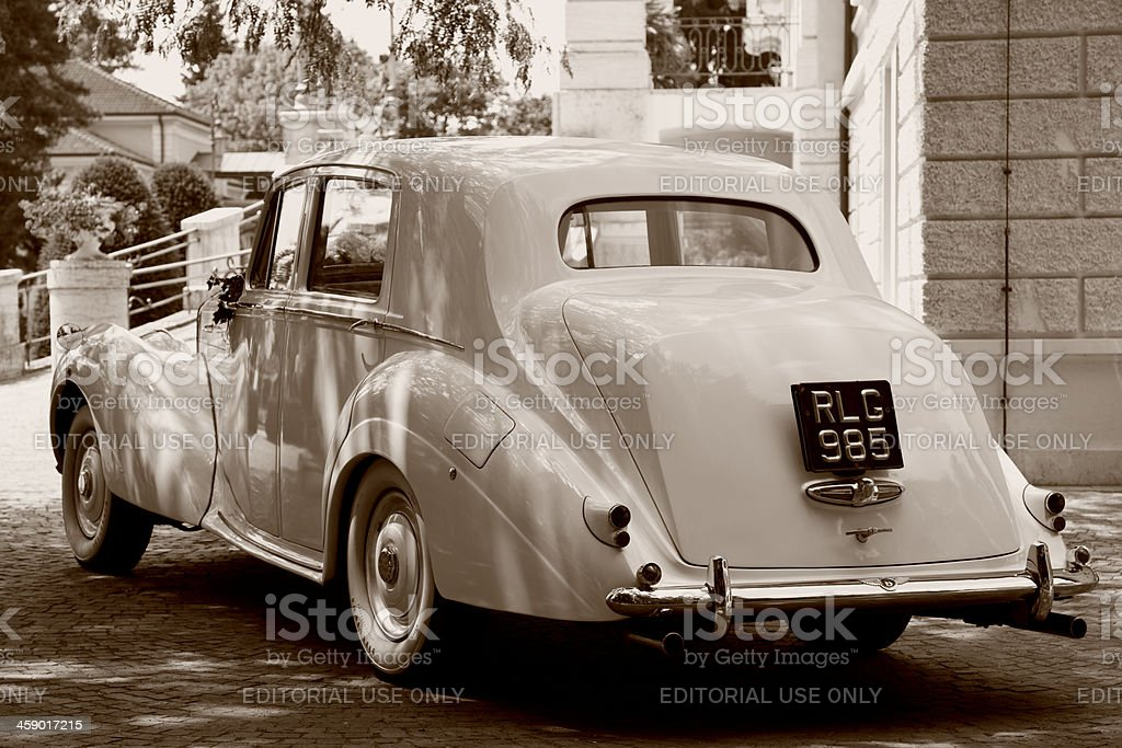 Rear View of Vintage Car Bentley Mk VI, Sepia Toned royalty-free stock photo