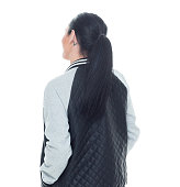 Rear view of woman looking away