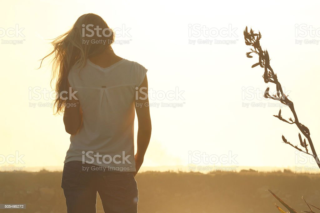 Rear view of young woman at sunset stock photo