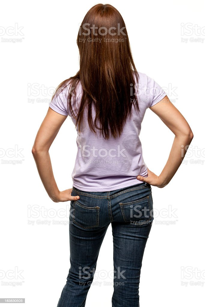 Rear View Of Young Woman, Three Quarter Length stock photo