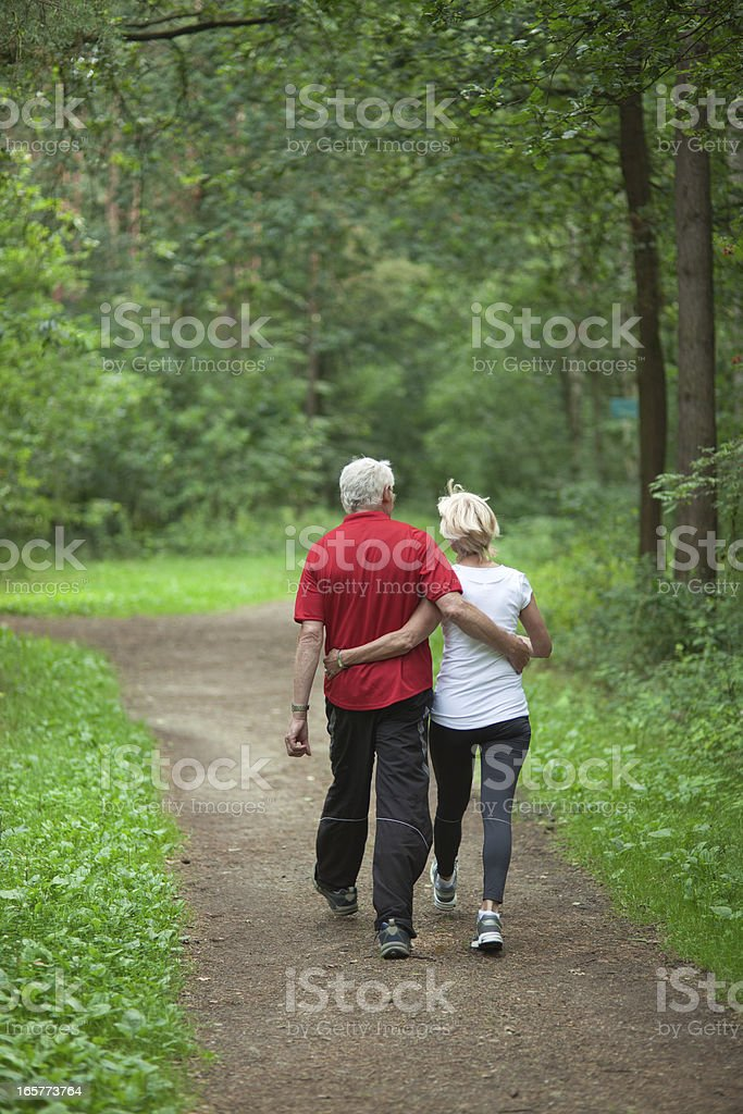 Rear view on senior couple walking in forest (XXXL) royalty-free stock photo
