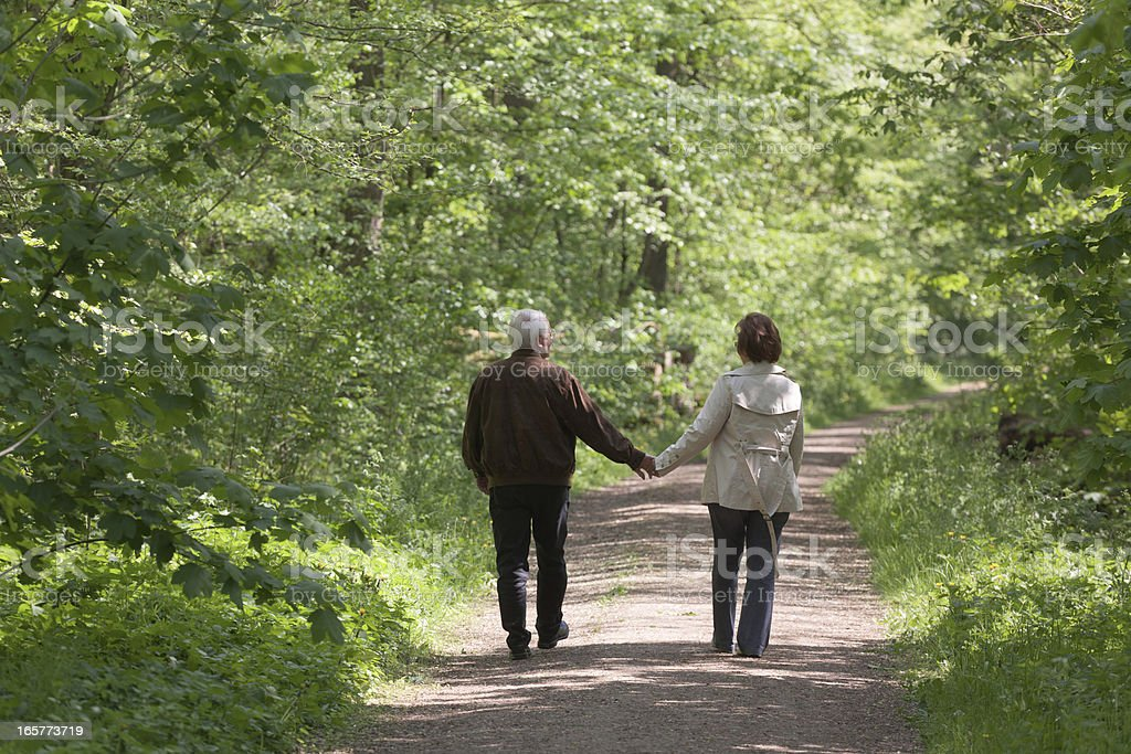 Rear view on senior couple walking through forest in spring royalty-free stock photo