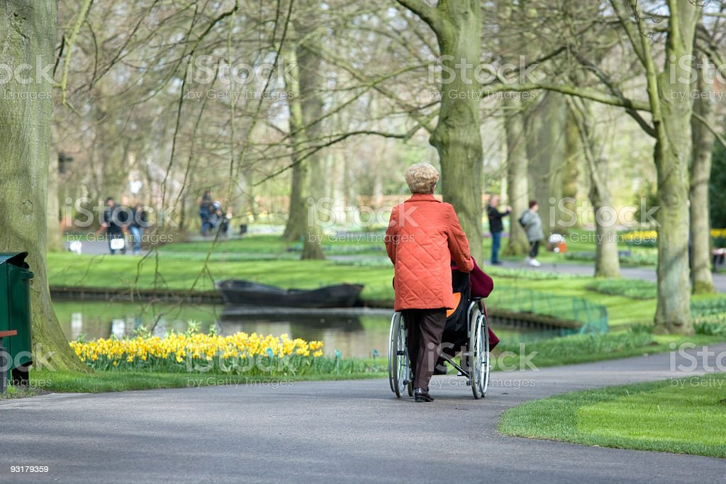 Rear view on woman pushing wheelchair user in park royalty-free stock photo