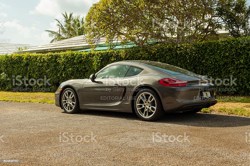 Rear view  Porsche Cayman in residential area in Miami stock photo