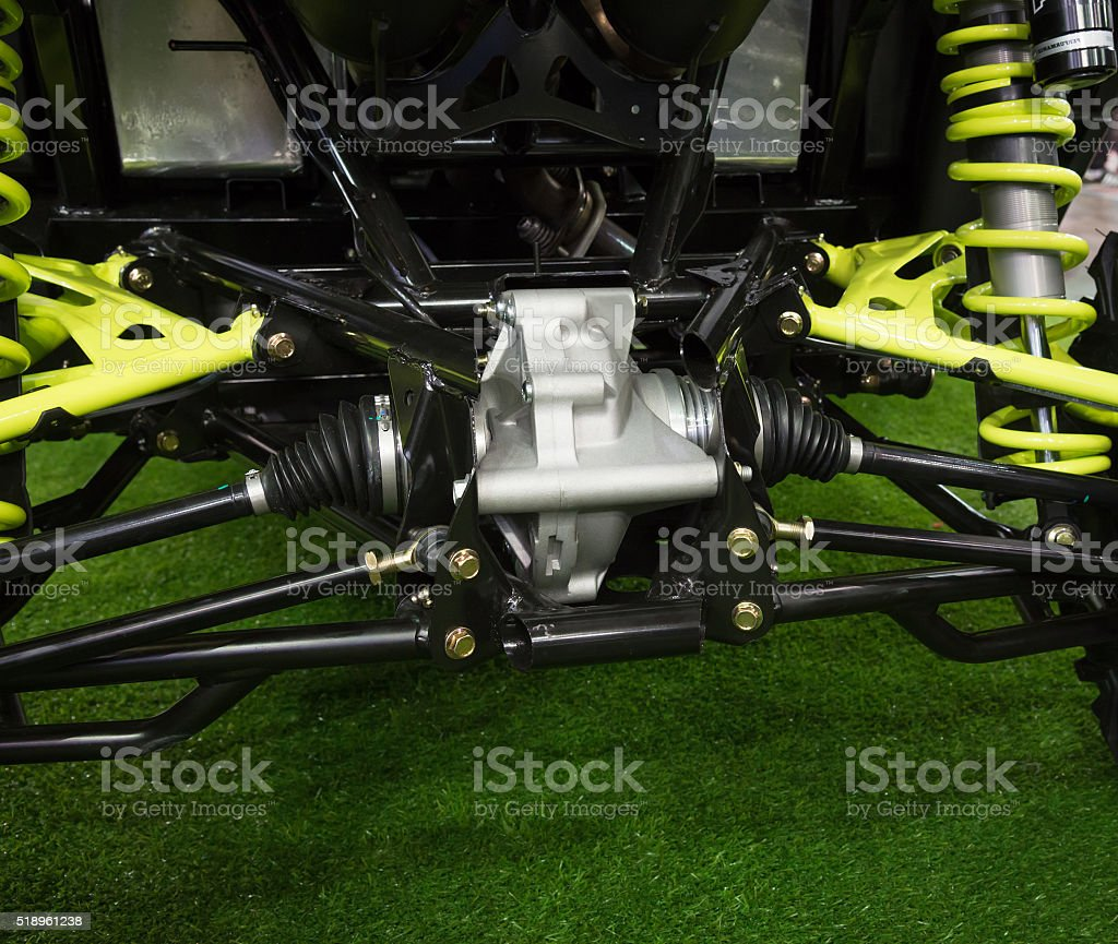 Rear view reducer and axle of new modern tractor stock photo