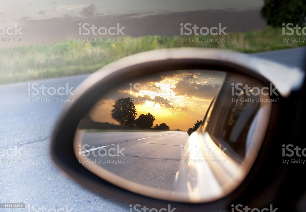 Rear view sunset stock photo