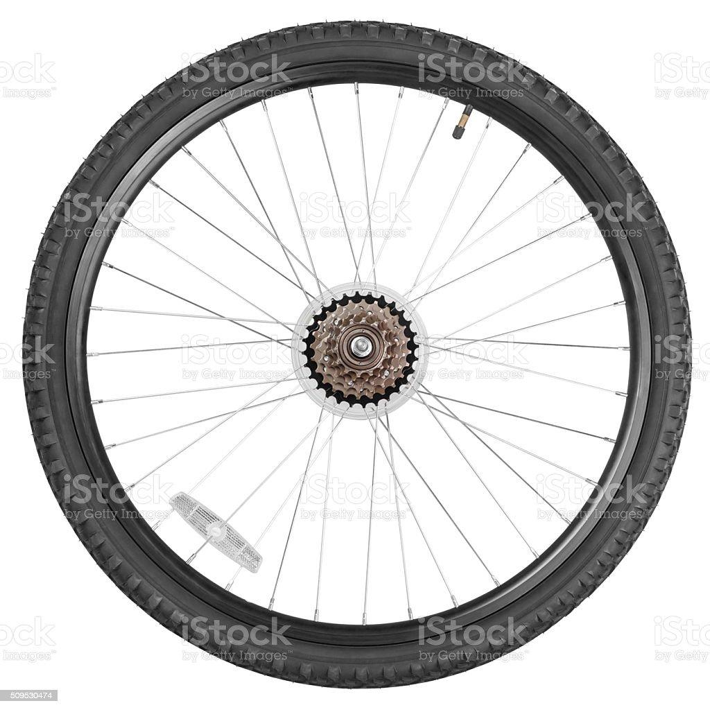 Rear wheel for mountain bike stock photo