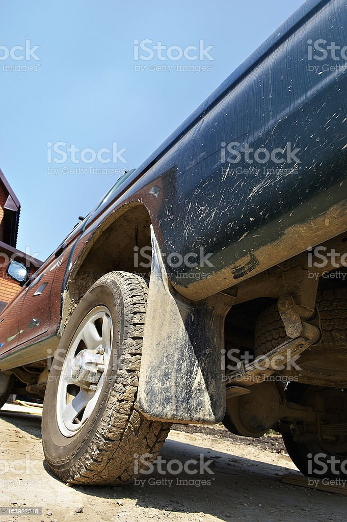 Rear wheel of a big machine pickup royalty-free stock photo