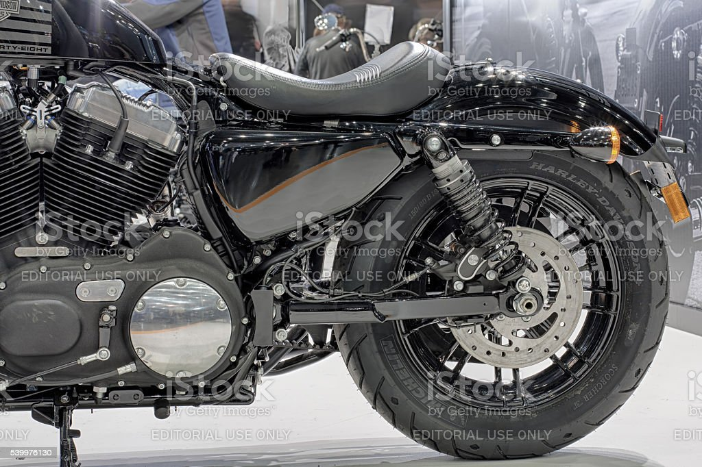 Rear wheel  of motorcycle Harley Davidson Sportster Forty-Eight stock photo
