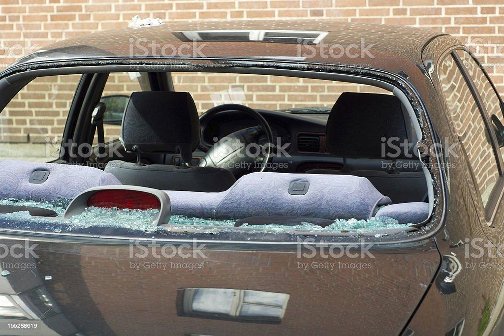 Rear window of car broken stock photo