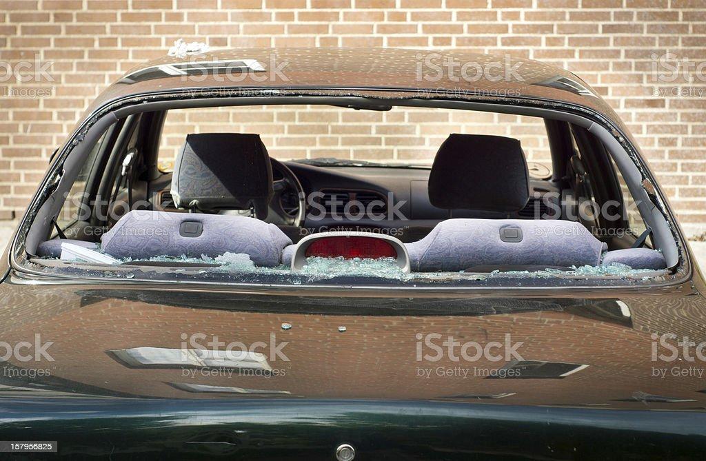 Rear window of car broken royalty-free stock photo